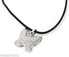 signed Swarovski~ crystal pave Butterfly Necklace Pendant ~ black cord ~NEW~ $60