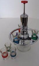 Vintage Art Deco Chrome Liquor Dispenser Pump with Six (6) Shot Glasses