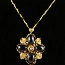 ANTIQUE VICTORIAN GARNET DIAMOND PENDANT 18CT GOLD NECKLACE CIRCA 1900