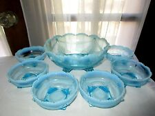 Jefferson Glass Co Swag with Bracket Opal Blue 7 Piece Berry Set Master Bowl