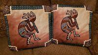 "KOKOPELLI Southwestern Throw Toss Pillows Dance Tapestry Native 15""  Purple"