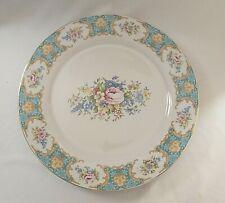 "Antique Reflections by J. GODINGER Floral Plate AQUA BLUE Pink Roses 10-3/4"""