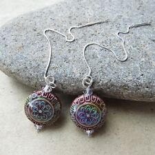 *SJ1* Blossom Multi-Color Changing Mood Bead Sterling Silver Threader Earrings