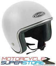 Gsb cara abierta de fibra de vidrio Motocycle Moto Scooter del Casco Blanco Brillante
