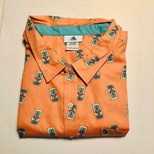 New Disney Parks ~ Main Street USA Trash Can Bin Coral Button Down Shirt 2XL NWT