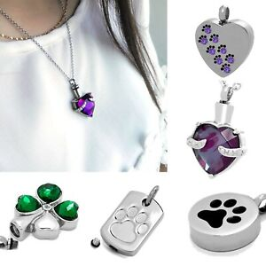 Cremation Jewellery Ashes Urn Pendant Keepsake Memorial Necklace Locket For Pets