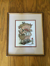 Framed MJ Hummel Needlepoint Four Girls With Cake & Basket Vintage 1994