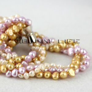 """18"""" 5-8mm White Champagne Purple Baroque 3Row Freshwater Pearl Necklace U"""
