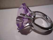PURPLE Glass CRYSTAL Engagement Ring Napkin HOLD Paperweight Wedding Cake Topper