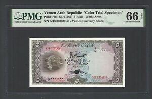 Yemen Arab Republic 5 Rials ND(1969) P7cts Color Trial SPC UNC Grade 66 Top Pop