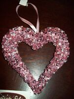 """NEW VALENTINE LARGE 5"""" OPEN HEART ORNAMENT PINK SEQUINS & BEADS HANGING TREE"""