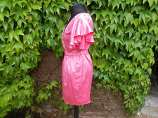155. LIPSY PINK SATIN BELTED DRESS WITH FLUTED SLEEVES - SIZE 10