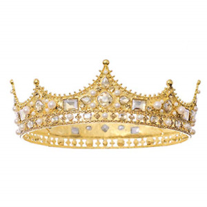 FORSEVEN King Crown for Men Crown Royal Costume Accessory Prom Tiara Baroque