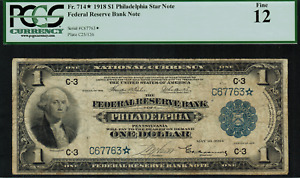 1918 $1 Federal Reserve Bank Note Philadelphia FR-714* - Star Note - PCGS 12