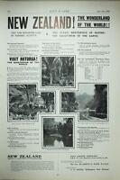 1903 PRINT NEW ZEALAND TRAVEL ADVERT WANGANUI WELLINGTON WAITITARA RIVER