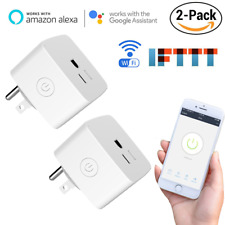 2 Pack Mini Wifi Smart US Plug Socket Timer Outlet Remote Control Power Switch