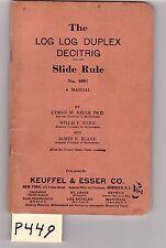 K&E Log-Log Duplex Slide Rule Manual, sliderule, very good condition, (P449)
