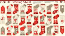 1484/1 Makower 2017 Scandi 4 Mini Stockings Christmas Advent Calendar Panel