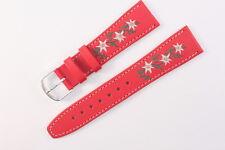 FORTIS Uhrenarmband 20mm Rot Kalbsleder für Trachtenuhr