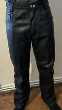 Men's Bespoke Black Leather Jeans Trousers