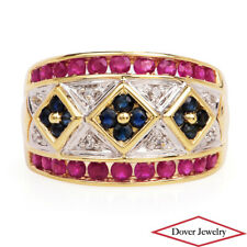 Estate Diamond Ruby Sapphire 14K Yellow Gold Floral Wide Band Ring 7.4 Grams NR