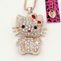 Betsey Johnson Enamel Crystal Cute Cat Kitten Pendant Sweater Chain Necklace