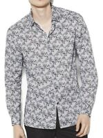 John Varvatos Star USA Men's Long Sleeve Poplin Floral Stripe Shirt Black White