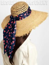 GUCCI wide M raw edge STRAW signature Blue/Red HEARTS scarf GIANT hat NWT Authen