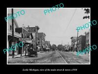 OLD LARGE HISTORIC PHOTO OF LESLIE MICHIGAN, VIEW OF THE MAIN St & STORES c1910