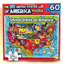 Jigsaw Puzzle The 50 United States of America, Capitals Included 60 Pieces