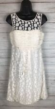 SUE WONG Ivory LACE Short Dress Cocktail evening prom social SZ 8 Balloon Hem