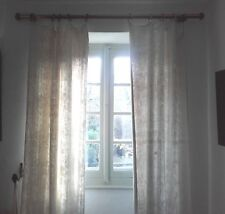 Pair of Antique French Drapes Unbleached Oatmeal Chanvre Panels Linen Curtains
