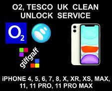 O2 UK Clean Networ Unlock Service, iPhone 4, 5, 6, 7, 8, X, XR, XS, 11, Pro, Max