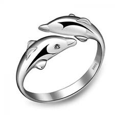Newest Cute Opening Adjustable Double Dolphin Ring Jewelry Silver Plated