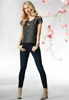 Casual Top sparkly rhinestones Blouse decorated size 6 8 10 12 14 16 Women Girls