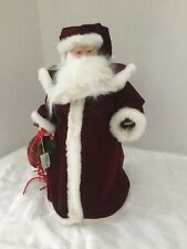 Always Christmas Santa Table Tree Topper Velvet Porcelain Face