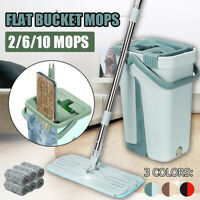 Self Cleaning Drying Wringing Mop Bucket System Flat Floor + 6 Microfiber