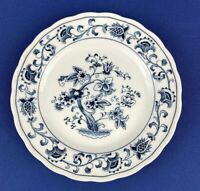"Nikko Japan Salad Plate White Blue Ming Tree Blue 7.25"" Scalloped Edge Vtg"