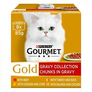 Gourmet Gold Chunks in Gravy Collection Cat Food 8 x 85g FREE NEXT DAY DELIVERY