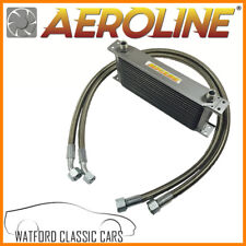 MGB 1976-1982 Aeroline Silver 10 Row Oil Cooler With Stainless Steel Hoses