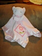 Security Blanket Bear Pink Flower ladybug plush satin Small Wonders Lovey AS IS