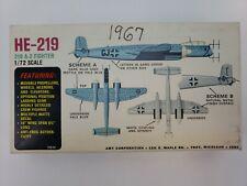 AMT 1:72 scale Heinkel HE-219 A-2 Fighter Model Kit #3702-80 Vintage 1967