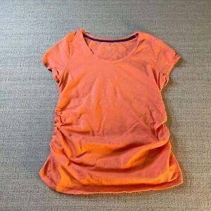 Liz Lange Maternity Shirt Womens Medium Solid Orange Short Sleeve Casual Top