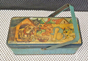 Very Antique Box Lunch Metal Signed Bozz Scene Child And Dog Fido Vintage