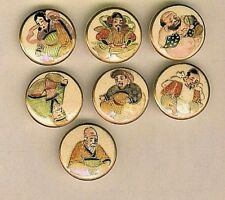 Set of 7 Satsuma Porcelain Japanese Immortal Gods Buttons