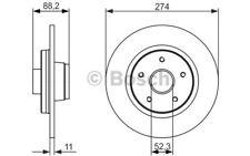 2x BOSCH Discos de Freno Traseros Pleno 274mm 0 986 479 695