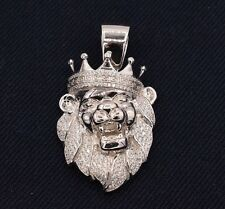 "2"" Men's Lion's Head Iced Out CZ Greek Crown Pendant Sterling Silver 925"