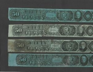 U.S. FOUR TAX PAID REVENUE STRIPS FOR 50 CIGARS, SERIES OF 1883