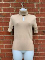 CATHERINE MALANDRINO $345 Tan Cashmere Keyhole Turtleneck Size Small Sweater