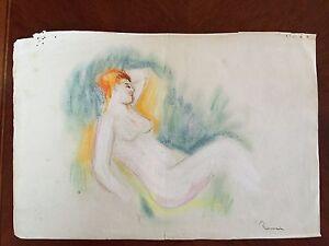 Pastel Chalk & Pencil Original Impressionist Nude Signed Renoir Impressionism